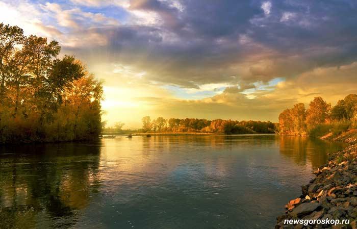река, вода, озеро, сентябрь, осень