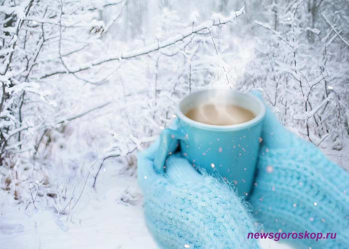 зима, кофе, декабрь, снег, варежки