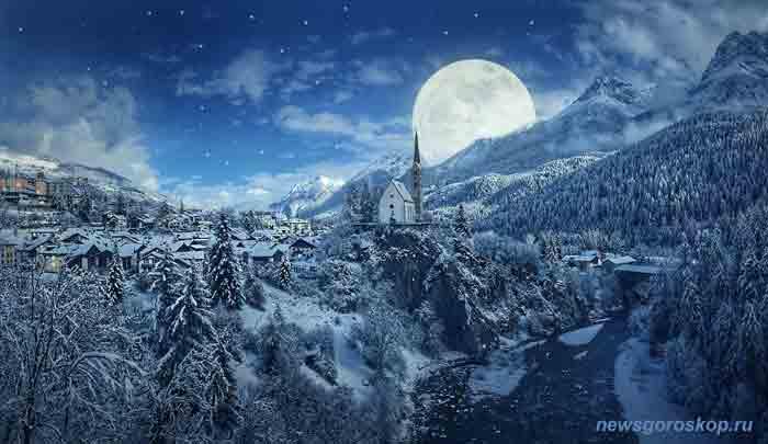 луна, ночь, зима, деревня