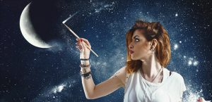 Девушка, месяц, луна, космос, ночь, небо