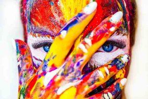 весна, девушка, радуга, художник