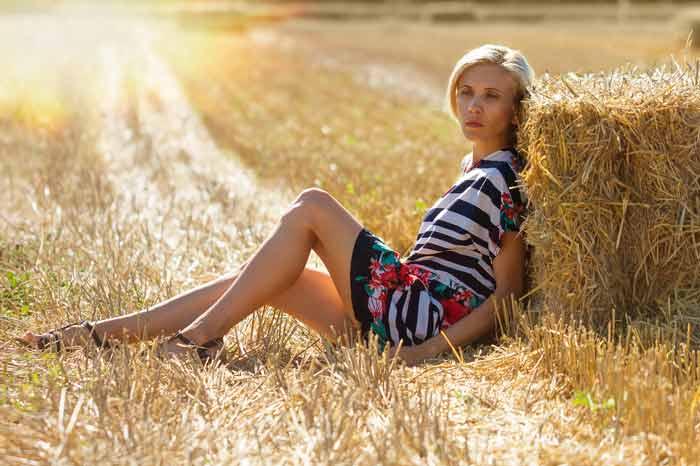 лето, поле, девушка, август