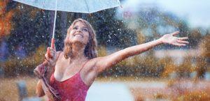 женщина, счастье, дождь