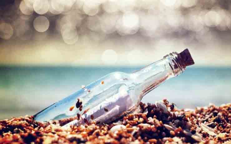 послание, море, бутылка, берег, пляж