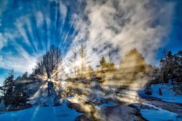 Зима, солнце, лес, река, утро